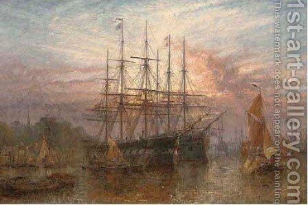 Lying at anchor at dusk, East Greenwich by Claude T. Stanfield Moore - Reproduction Oil Painting