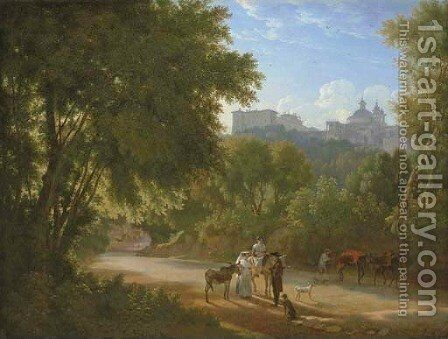 A Valley in the Alban Hills with Travelers on a Road, a view of the Chigi Palace and Santa Maria dell'Assunta beyond by Achille-Etna Michallon - Reproduction Oil Painting