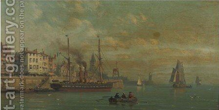 Views Of Harbours With Fisherboats 2 by Charles Euphraisie Kuwasseg - Reproduction Oil Painting
