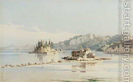 The Island of Pontikonissi (Mouse island) and the Monastery of Vlacherna, Corfu by Angelos Giallina - Reproduction Oil Painting