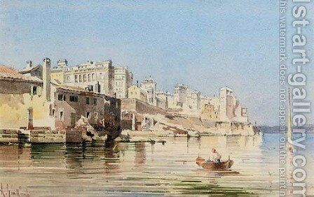 Corfu town from the sea by Angelos Giallina - Reproduction Oil Painting