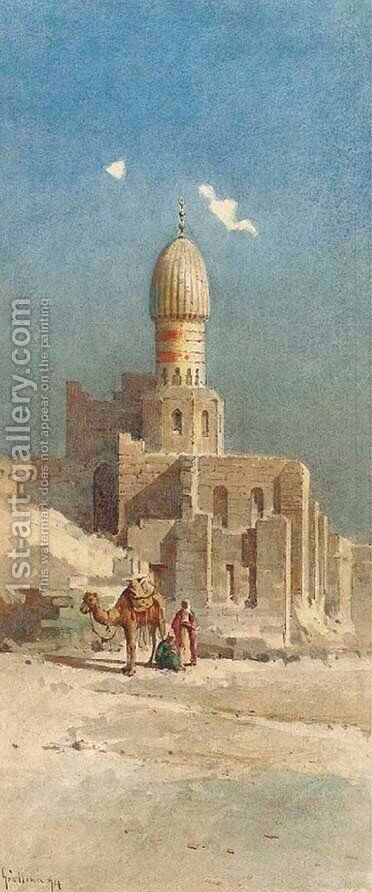 Mosques and minarets in a desert town by Angelos Giallina - Reproduction Oil Painting