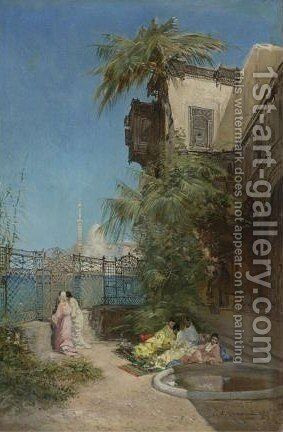 The Harem And Outside The Mosque by Godefroy de Hagemann - Reproduction Oil Painting