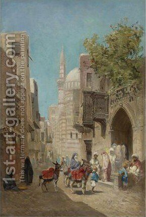 The Harem And Outside The Mosque 2 by Godefroy de Hagemann - Reproduction Oil Painting