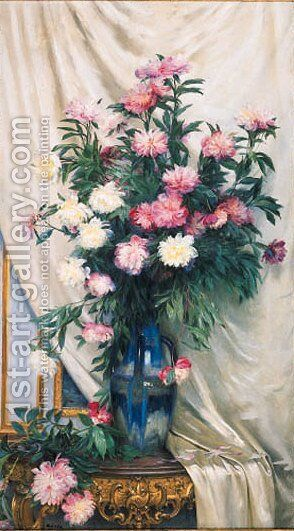Summer flowers in a glass vase by Albert Aublet - Reproduction Oil Painting