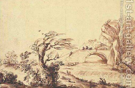 A river landscape with a weir, fishermen on a bridge beyond by Guercino - Reproduction Oil Painting