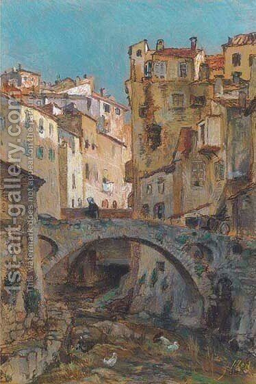 A figure crossing a bridge in an Italian town by Jacques Abraham Zon - Reproduction Oil Painting