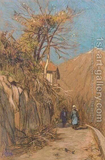 Travellers on a hillside track by Jacques Abraham Zon - Reproduction Oil Painting