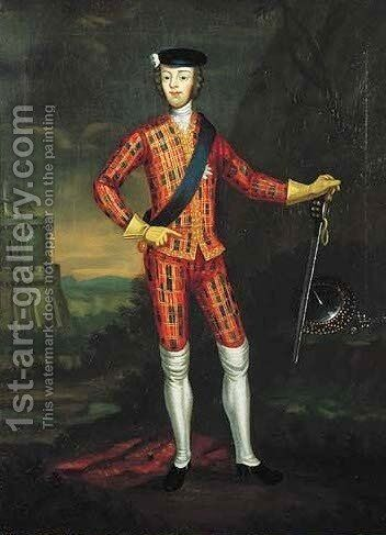 Harlequin Portrait of Charles Edward Stuart, Bonnie Prince Charlie (1720-1788) by James Wasdail (or Worsdale) - Reproduction Oil Painting