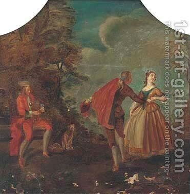 A courting couple in a landscape by (after) Watteau, Jean Antoine - Reproduction Oil Painting