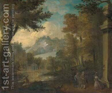A wooded landscape with elegant company by a lake by (after) Watteau, Jean Antoine - Reproduction Oil Painting