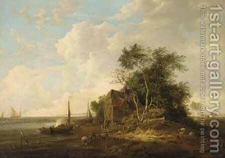 A coastal scene with a cottage by the shore, fishing boats moored nea by Edward Williams - Reproduction Oil Painting