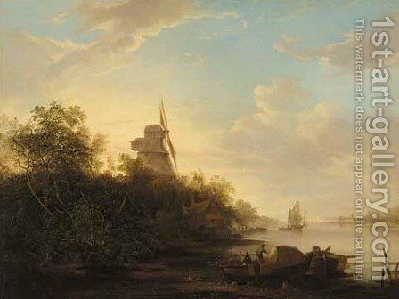 A river landscape with boats moored in the foreground and a windmill beyond by Edward Williams - Reproduction Oil Painting
