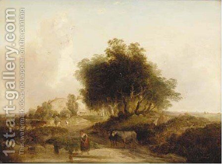 A girl collecting water with a horses and cart and gypsy encampment beyond by Edward Williams - Reproduction Oil Painting
