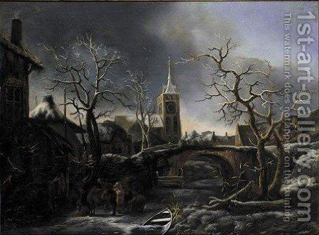 Figures And Horses On A Frozen Stream by Jan Wouwerman - Reproduction Oil Painting