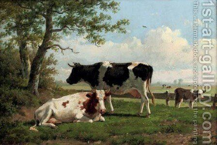 Cattle in a pasture 2 by Anthonie Jacobus van Wyngaerdt - Reproduction Oil Painting