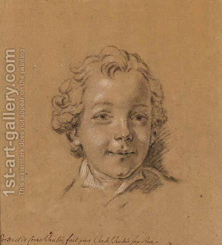 Portrait of the Artist's Son, Jules-Csar-Denis Van loo by (after) Vanloo, Jean Baptiste - Reproduction Oil Painting
