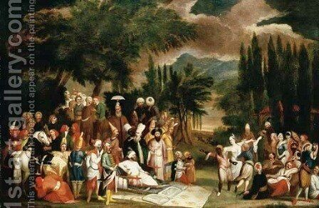 The hunting party of Sultan Ahmed III by Jean Baptiste Vanmour - Reproduction Oil Painting