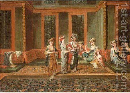 Armenian interior with a sultan and his favourite by Jean Baptiste Vanmour - Reproduction Oil Painting