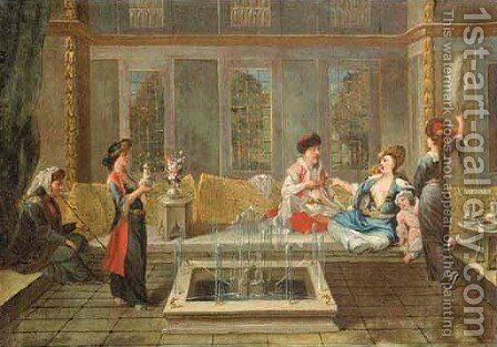 Armenian women drinking coffee in an interior by Jean Baptiste Vanmour - Reproduction Oil Painting