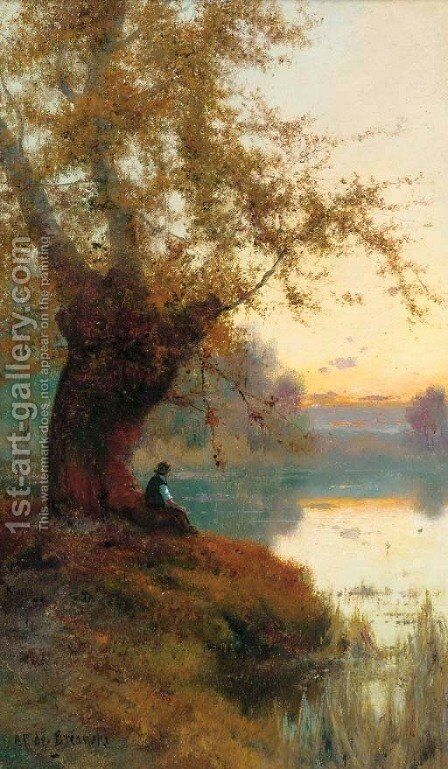 Rest on the bank of a tranquil river by A.H. Vickers - Reproduction Oil Painting