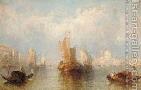 Vessels on the Lagoon, Venice by J. Vivian - Reproduction Oil Painting