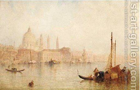 Vessels before Santa Maria della Salute, Venice by J. Vivian - Reproduction Oil Painting
