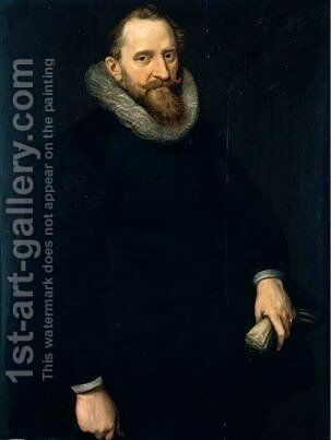 Portrait Of A Gentleman, Three-Quarter Length, Wearing Black, Holding A Pair Of Gloves by Cornelis van der Voort - Reproduction Oil Painting