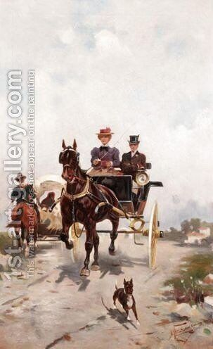 Coaching Scene 2 by Alfredo Tominz - Reproduction Oil Painting