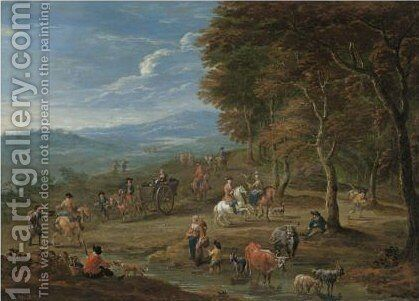 An Extensive Landscape With Peasants by Mathys Schoevaerdts - Reproduction Oil Painting