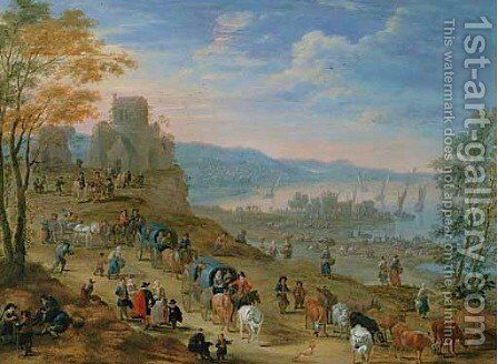 A town on an estuary with peasants in boats by Mathys Schoevaerdts - Reproduction Oil Painting