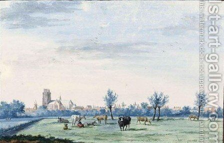 View Of Dordrecht From The South-West, With Cattle And A Milkmaid In The Foreground 2 by Aert Schouman - Reproduction Oil Painting