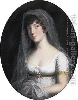 Portrait Of Duchess Marie, Princess Of Baden, Wife Of Duke Friedrich Wilhelm (1782-1808) by Johann Heinrich Schroder - Reproduction Oil Painting