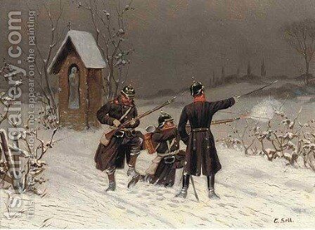 Dragoons in the snow by Christian Sell - Reproduction Oil Painting