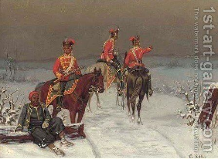 Prussian infantry by Christian Sell - Reproduction Oil Painting