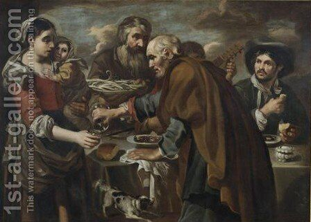 A Roman Street Scene With Peasants Eating And Drinking, Possibly Representing The Five Senses by Bernhard Keil - Reproduction Oil Painting