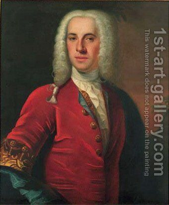 Portrait of a gentleman, in a red coat with gold embroidered by Andrea Soldi - Reproduction Oil Painting