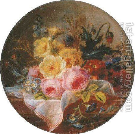 Summer flowers on a table by Cornelis van Spaendonck - Reproduction Oil Painting