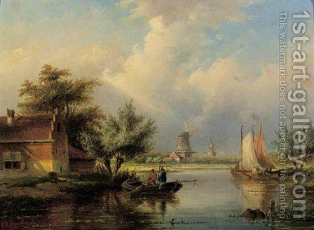 Fishermen on a river in summer by Jan Jacob Spohler - Reproduction Oil Painting