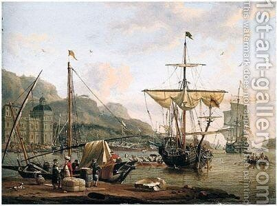 A Mediterranean Port Scene With Figures Unloading Their Boat, Other Vessels Beyond by Abraham Storck - Reproduction Oil Painting