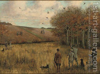 Pheasant shooting 2 by Christopher William Strange - Reproduction Oil Painting