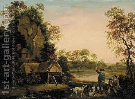Two gentlemen going a shooting, with a view of Creswell Crags taken on the spot by (after) Stubbs, George - Reproduction Oil Painting