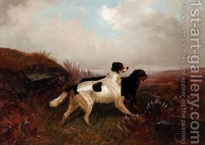 A Gordon And An English Setter In The Scottish Highland by Colin Graeme Roe - Reproduction Oil Painting