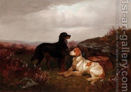 A Gordon And An English Setter In The Scottish Highland 2 by Colin Graeme Roe - Reproduction Oil Painting
