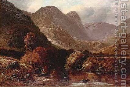 A river through the hills by Clarence Roe - Reproduction Oil Painting
