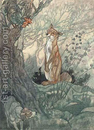 Illustration for Aesop's Fables The fox with the cropped tail by Charles Robinson - Reproduction Oil Painting