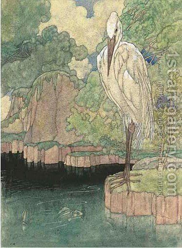 Illustration for Aesop's Fables The heron by Charles Robinson - Reproduction Oil Painting