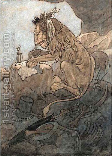 An illustration for Aesop's Fable's The theetsore lion by Charles Robinson - Reproduction Oil Painting