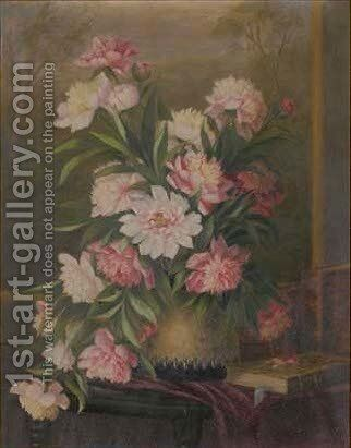 Peonies in a vase with a book to the side, on a table, a landscape beyond by Sophie Prieur - Reproduction Oil Painting