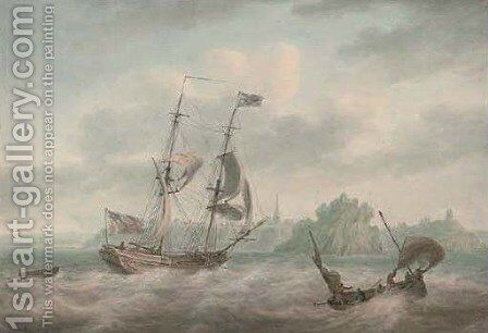 An Admiralty yacht running inshore at Tenby by Nicholas Pocock - Reproduction Oil Painting